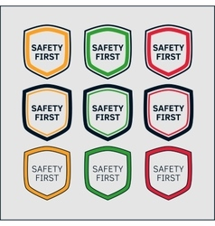Safety First shield set vector