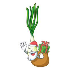 Santa with gift fresh scallion isolated on the vector