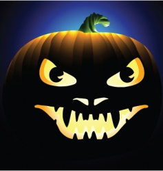 scary face carved into pumpkin vector image