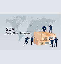 scm supply chain management delivery inventory vector image