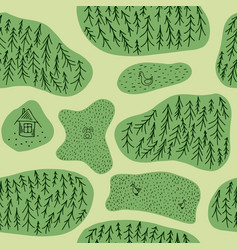 seamless pattern with fir tree forest ducks hare vector image