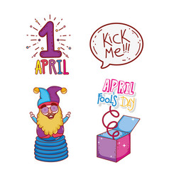 set april first with jester and box to fools day vector image