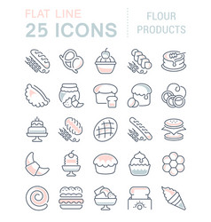 Set line icons flour products vector