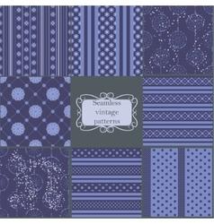 Set of blue vintage patterns vector image