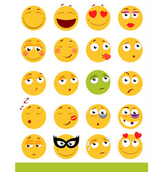 set of cute emoticons emoji and smile icons vector image