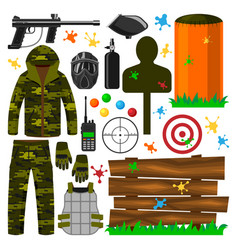 set paintball club symbols icons protection vector image