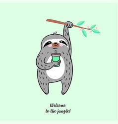 summer of cute sloth vector image