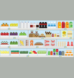 supermarket shelves with food and drinks vector image
