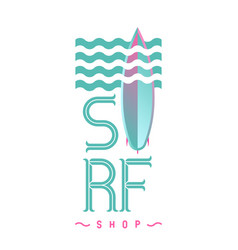 Surf board logo emblem for surf shop or club logo vector