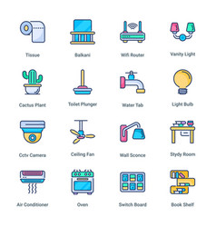 sweet home filled line icons vector image