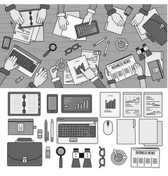 teamwork in office line monochrome vector image
