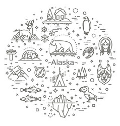 Thin line arctic icons set north pole outline vector