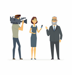 Tv presenter having an interview - cartoon people vector