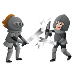 Two knights in armours fighting vector