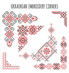 Ukrainian embroidery ornaments set vector