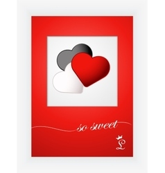 Valentines day card with hearts and words of love vector image
