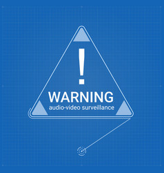 Warning sign in triangle on blueprint background vector