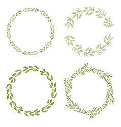watercolor botanical hand drawing leafs wreath vector image