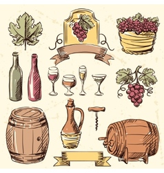 Wine vintage hand drawn set vector image
