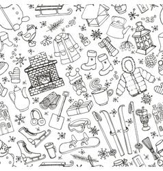 Winteer doodle elements seamless patternBlack vector