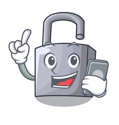 With phone character padlock on the wooden door vector