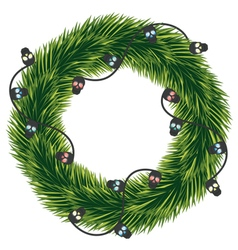 Wreath of Christmas tree branches with a garland vector