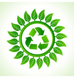 Recycle icon inside the leaf background vector image vector image