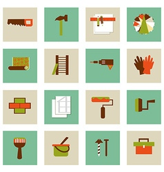 Set of flat working tools icons Repair their own vector image vector image