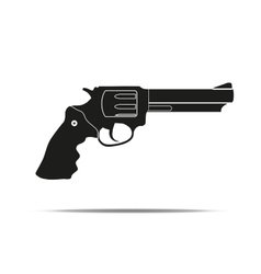 Silhouette simple symbol of revolver vector image vector image