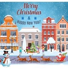 Christmas postcard with vintage street vector image
