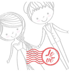 just married happy vector image