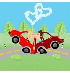 man and woman kissing in an accident vector image