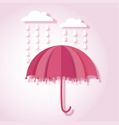 Paper art with umbrella and rain drops vector