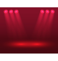 Red lights on the stage vector image vector image