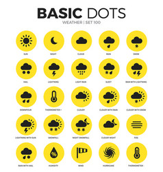 weather flat icons set vector image vector image