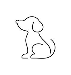 Black dog thin line icon vector image