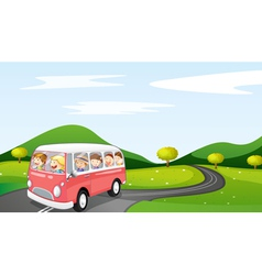 bus and road vector image