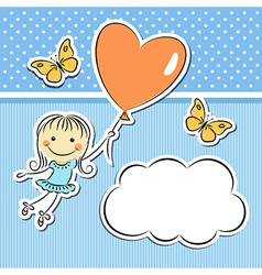Happy girl with heart balloon vector image