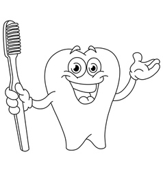outlined cartoon tooth with toothbrush vector image