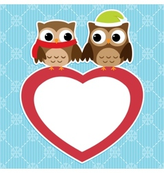 owls love card vector image