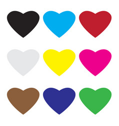 set of valentine hearts symbol vector image