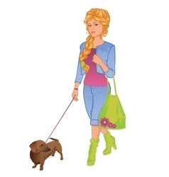 girl walking with her dog vector image