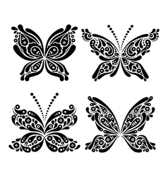 Set of beautiful black and white butterfly tattoo vector image