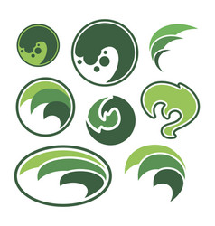 Abstract green leaf sphere logo vector