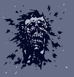 Angry screaming ghoul vampire head vector