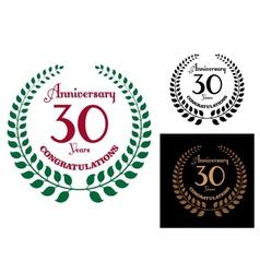 Anniversary jubilee laurel wreaths vector