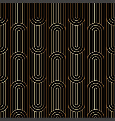 Art deco linear pattern seamless golden background vector
