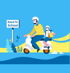 Back to school after new normal concept vector