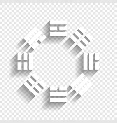 Bagua sign white icon with soft shadow on vector