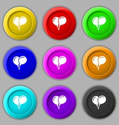 balloon Icon sign symbol on nine round colourful vector image